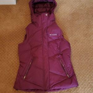 Columbia omni heat purple down vest small